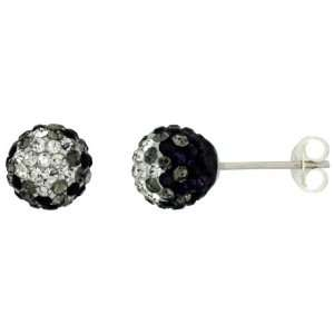Sterling Silver Crystal Disco Ball Stud Earrings (8mm Round), Clear