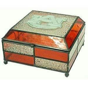 Auburn Tigers Stained Glass Charm/Jewelry Box Sports