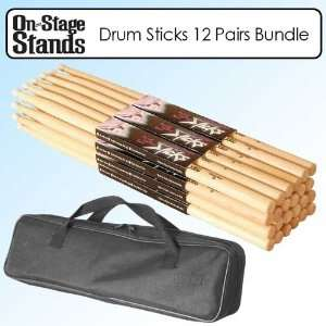 On Stage HW7A Hickory Wood Drum Sticks with Wood Tip 12
