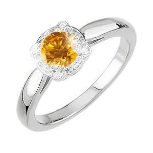 Elegant Halo Engagement 14K White Gold Ring with Fancy Orange Yellow