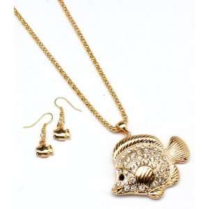 Sparkles Fashion Necklace   Gold Necklace and Earring SE