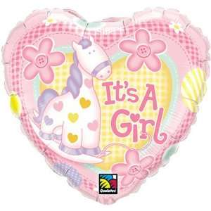 Its a Girl Heart Pony Pink Flowers 18 Balloon Mylar  Toys & Games
