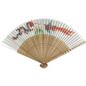 Phoenix   Painted Fabric   Perforated Brown Wood Hand Held Folding Fan