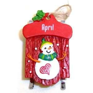 April Christmas Snowman Sled Ornament