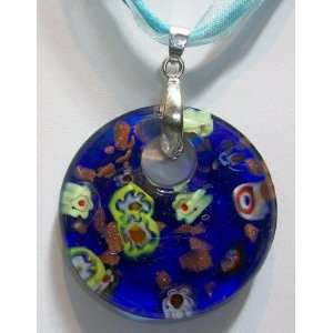 Brand new Murano Style Glass Pendant Necklace Blue (Coin