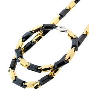 Stainless Steel Two Tone Black Gold Hex Bullet Men Bracelet Chain Set