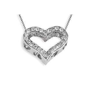 Diamond Heart Pendant 1/4 ctw 14K White Gold Jewelry