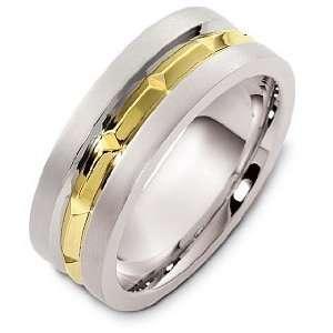 8mm 18 Karat Yellow Gold and Titanium Wedding Band Ring   8.5 Jewelry
