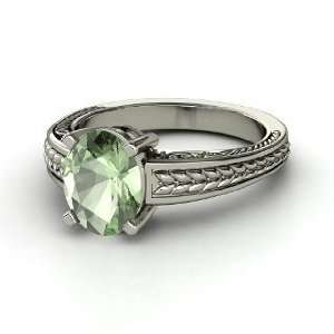 Oval Ceres Ring, Oval Green Amethyst 14K White Gold Ring Jewelry
