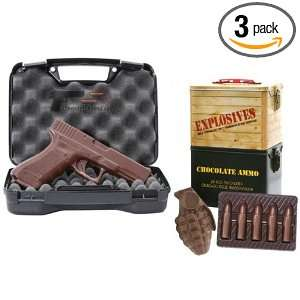 Package   Contains Chocolate Bullets, Solid Chocolate Hand Gun, and
