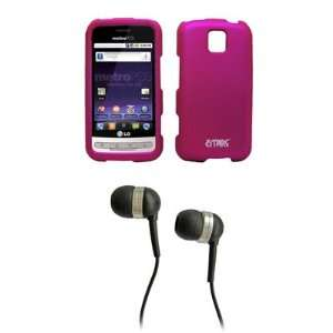 EMPIRE Hot Pink Rubberized Hard Case Cover + Stereo Hands