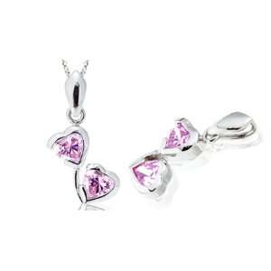 Heart Shape Pink CZ Pendant Sterling Silver Rhodium Finish