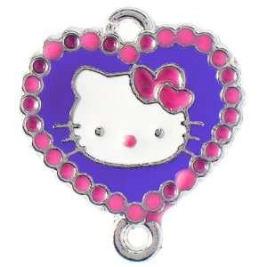 bordered Hello Kitty enamel charm   Pink/Plum Arts, Crafts & Sewing