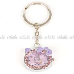 Hello Kitty Pocket Watch Keyring Keyfob Purple Office