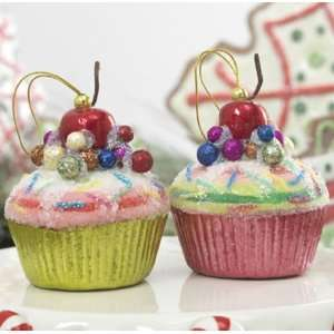 Christmas Tree Cupcake Ornament, with Cherry & Sparkles, Set of 2