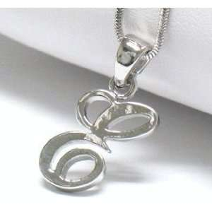 Initial E Necklace White Gold Plated Lovely Nice