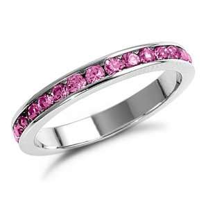 Sterling Silver Pink CZ Eternity Ring Size 7 Jewelry