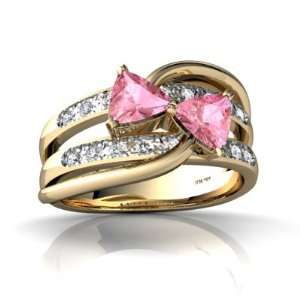 14K Yellow Gold Trillion Created Pink Sapphire Ring Size 6 Jewelry