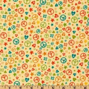 44 Wide Peace Love Joy Peace Signs Yellow Fabric By The