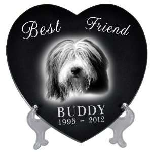 Pet Photo Laser Engraved Black Marble Heart  Extra Large