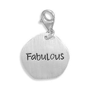 Sterling Silver Reversible Charm Lobster Clasp Featuring Crystal F One