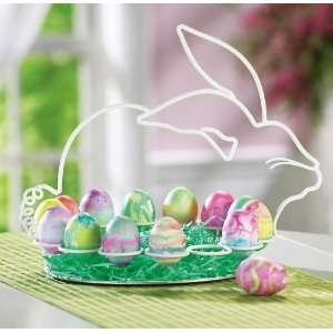 Bunny Shaped Metal Frame Easter Egg Display Holder By