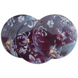 Mother Of Pearl Pendant 3PK/Black Flowers