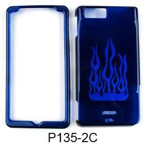 Motorola Droid X MB810 Transparent Blue Flame Hard Case/Cover