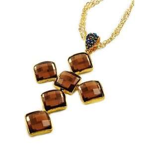 Topaz Glass Crystal Cross Pendant Necklace Fashion Jewelry Jewelry