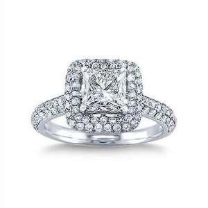 1.35 ct Princess Cut Diamond Engagement Ring 14K Gold All