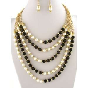 Black Faux Pearls Layered Goldtone Necklace and Earrings Set Sports