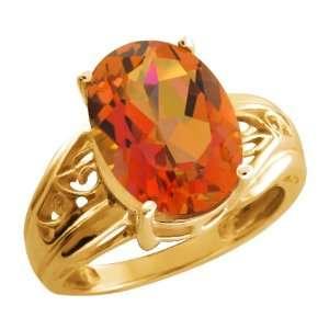 Twilight Orange Oval Mystic Quartz and 18k Yellow Gold Ring Jewelry