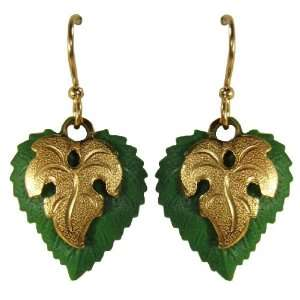 Jody Coyote Green Gold Philodendron Leaf Earrings QM615 Jewelry