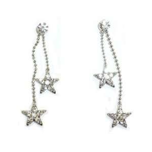 Double Crystal Dangling Stars Pierced Earrings Jewelry