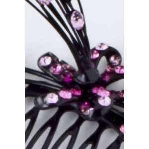 Hair Accessory ~ Pink Crystal Flower Hair Pin Comb (Style 3375 Pink
