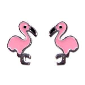 Tomas Sterling Silver Enamel Post Earrings   Pink Flamingo Jewelry