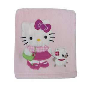 Originals Hello Kitty and Puppy Fleece Blanket with Applique   Pink