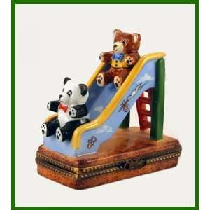 Teddy Bears in Playground French Limoges Box: Home