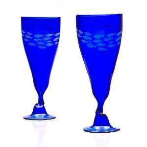 Recycled Wine Bottle Glasses   Blue Everything Else