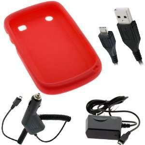 GTMax Red Soft Rubber Silicone Skin Cover Case + Black Micro