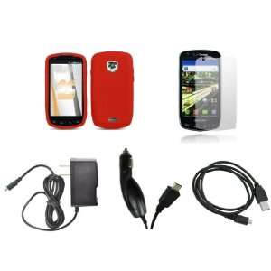 Droid Charge (Verizon) Premium Combo Pack   Red Silicone Soft Skin