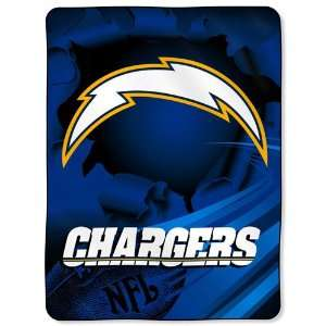 San Diego Chargers NFL Royal Plush Raschel Blanket (Big Burst Series