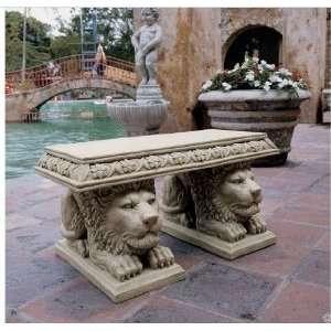 Grande Lion Sculptural Home Garden Bench Sit Stand