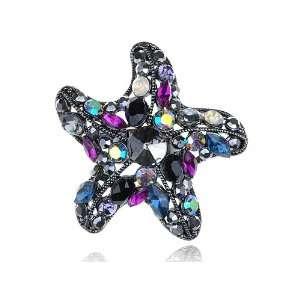 Large Shiny Silver Tone Colorful Starfish Star Crystal Rhinestone Ring