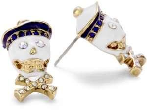 Betsey Johnson In the Navy Skull Stud Earring Jewelry