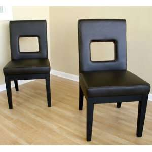 Dark Brown Full Leather Dining Chairs, Set of 2