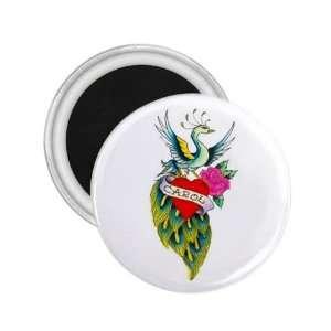 Souvenir Art 2.25 Tattoo Peacock Bird Fridge Round Magnet