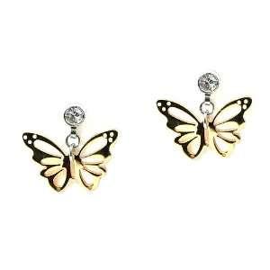 Yellow Stainless Steel Cz Butterfly Dangle Earrings Jewelry
