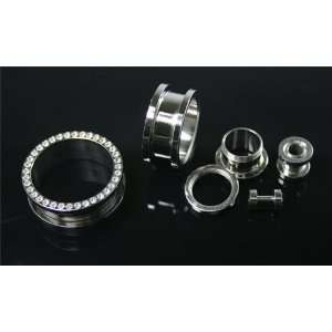 Stainless Steel Screw on Plugs with Clear CZ 00G   Sold as