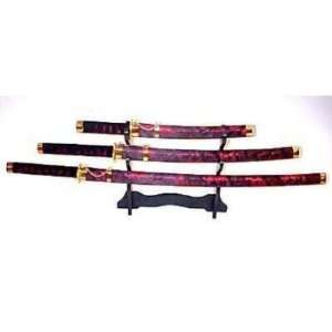 Red Decorative Samurai Sword Set with Stand